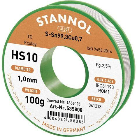 Étain à souder sans plomb Stannol HS10 2,5% 1,0MM SN99,3CU0,7 CD 100G 631906 Sn99,3Cu0,7 sans plomb, bobine 100 g 1 mm 1 pc(s) X887531