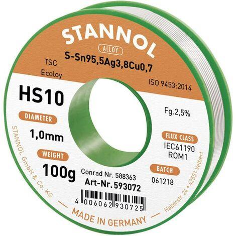 Étain à souder sans plomb Stannol HS10 2510 631902 Sn95,5Ag3,8Cu0,7 bobine 100 g 1 mm 1 pc(s) S66282