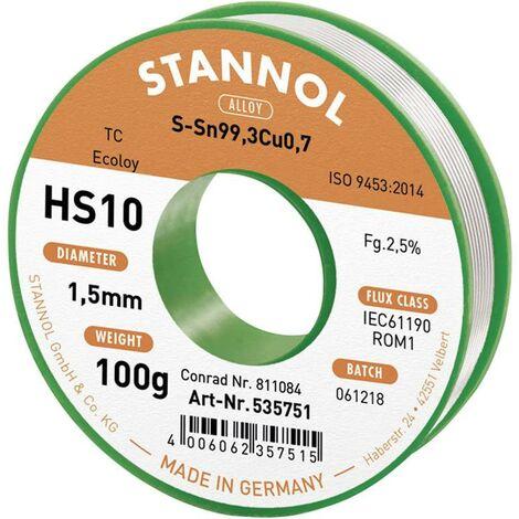 Étain à souder sans plomb Stannol HS10 2510 631911 Sn99,3Cu0,7 bobine 100 g 1.5 mm 1 pc(s) C99761