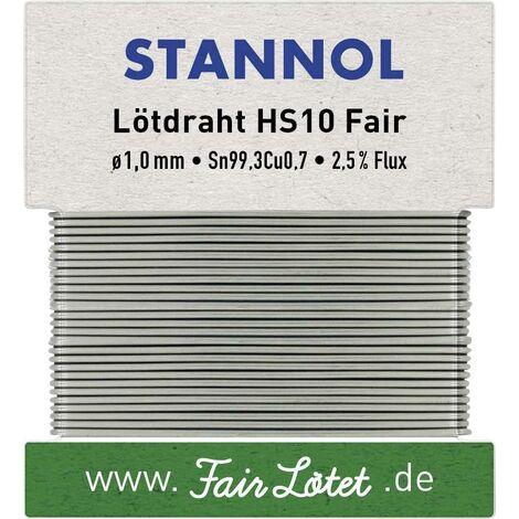 Étain à souder sans plomb Stannol HS10Fair 599113 Sn99,3Cu0,7 sans plomb 30 g 1 mm 1 pc(s) Q714342
