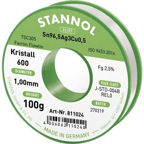Étain à souder sans plomb Stannol Kristall 600 Fairtin 811024 Sn96,5Ag3Cu0,5 sans plomb 100 g 1 mm 1 pc(s) Q714442