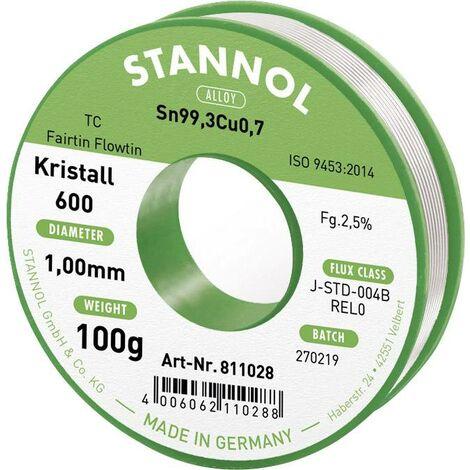 Étain à souder sans plomb Stannol Kristall 600 Fairtin 811028 Sn99,3Cu0,7 sans plomb 100 g 1 mm 1 pc(s) Q714492