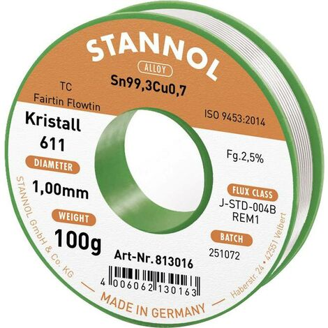 Étain à souder sans plomb Stannol Kristall 611 Fairtin 813016 Sn99,3Cu0,7 sans plomb 100 g 1 mm 1 pc(s) Q714412