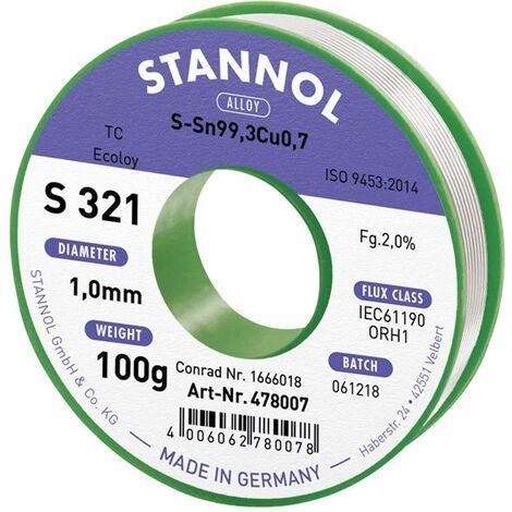 Étain à souder sans plomb Stannol S321 2,0% 1,0MM SN99,3CU0,7CD 100G 631921 Sn99,3Cu0,7 sans plomb, bobine 100 g 1 mm 1 pc(s) X887961