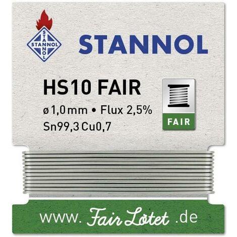 Étain à souder Stannol HS10-Fair Sn99,3Cu0,7 enrouleur 5 g 1 mm W915201