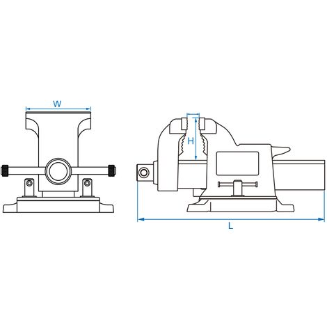 Étau à base tournante - H 89 mm x L 492 mm x l 220 mm