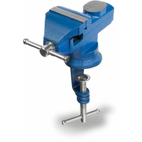 Étau de table 360° tournant avec Enclume et Serre-joint (60 mm Largeur de la mâchoire, 55 mm Ouverture de mâchoire, Bord de table jusquà 45 mm, Acier moulé)