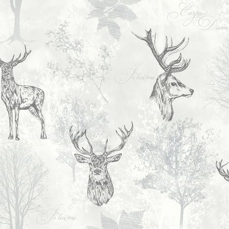 Etched Stags Head Motif Feature Wallpaper Mono White Arthouse Woodland Nature