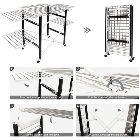 Etendage à Linge Pliable, Etendoir à Linge Pliant, 174 x 105 x 84 cm, Noir/Blanc, Matériau: Plastique ABS, Acier inoxydable
