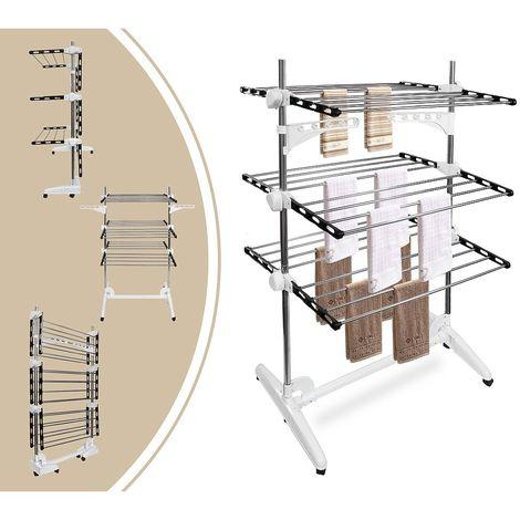 Etendoir à Linge, Etendage à Linge, 3 étagères, Noir/Blanc, avec ailes et barre supérieure, Matériau: Tubes en acier inoxydable