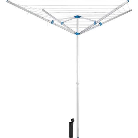 Etendoir à Linge Extérieur Parapluie Réglable en Aluminium 150 cm x 150 cm x 196 cm