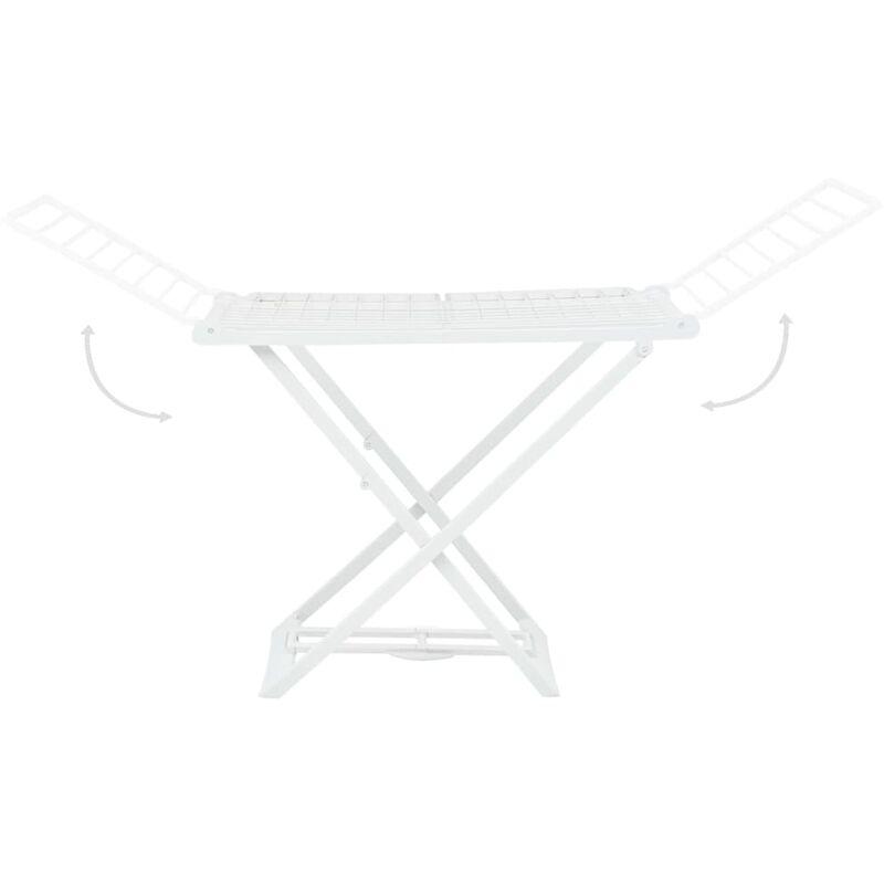 VidaXL Étendoir à linge pliable Blanc Plastique