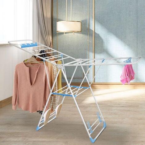 Etendoir à Linge Pliable, Séchoir à Linge Réglable, Blanc/Bleu, Taille dépliée (Etendoir): 138 x 90.5 x 51 cm (54.3 x 35.6 x 20 inch) - Blanc/Bleu