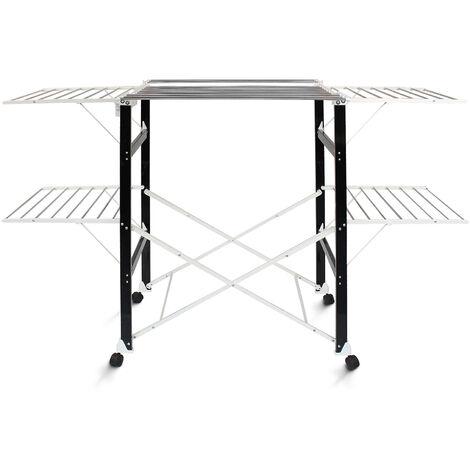 Etendoir à Linge Pliant, Etendage à Linge Pliable, 174 x 105 x 84 cm, Noir/Blanc, Matériau: Plastique ABS, Acier inoxydable