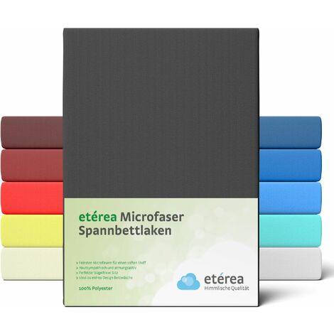 etérea Microfaser Spannbettlaken Schwarz, 100x200 - 120x200 cm