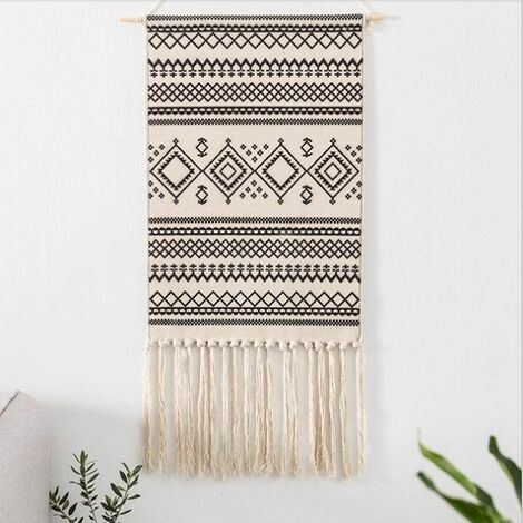 Ethnic Indian Bohemian Gray Beige Wall Tapestry Hand Weaving Tapestry Decoration for Nursery Bedroom Psychedelic Linen Wall Towel 50 x 70cm + 28cm