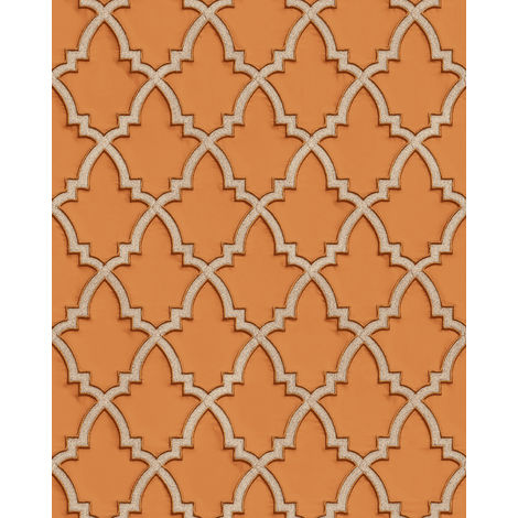 Ethnic style wallpaper wall Profhome DE120026-DI hot embossed non-woven wallpaper embossed with ornaments and metallic highlights orange gold 5.33 m2 (57 ft2)