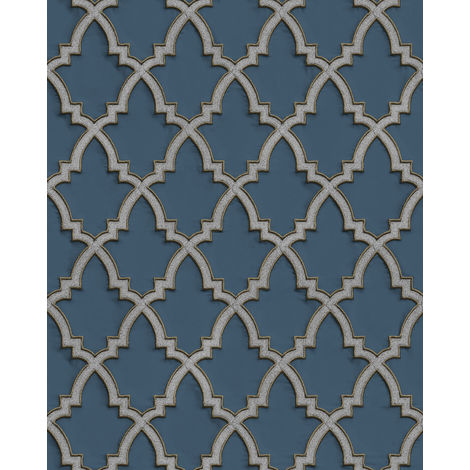 Ethnic style wallpaper wall Profhome DE120027-DI hot embossed non-woven wallpaper embossed with ornaments and metallic highlights blue blue grey silver 5.33 m2 (57 ft2)