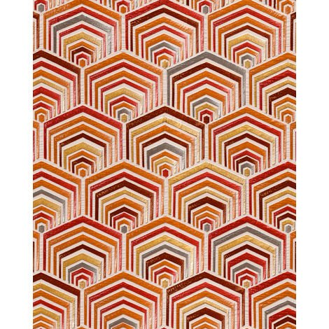 Ethnic style wallpaper wall Profhome DE120045-DI hot embossed non-woven wallpaper embossed with geometric shapes shiny beige copper bronze pearl ruby red 5.33 m2 (57 ft2)