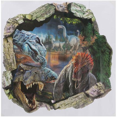 Etiqueta de la pared 3D Dinosaur Sticker Decoración Dormitorio Trompe L'Oeil Extraíble