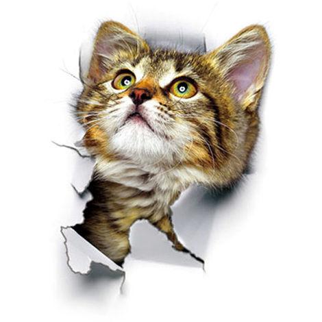 Etiqueta de la pared del gato 3D, etiqueta impermeable del inodoro,XH2001(no se puede enviar a Baleares)