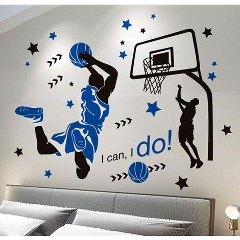 Etiqueta de la pared, etiqueta de la pared del tiro de baloncesto como decoración de la pared para el dormitorio, sala de estar, sala de niños, arte, decoración de bricolaje, mural, pegatinas de pared, 89 × 118 cm
