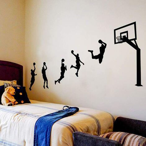 Etiqueta de la pared, etiqueta de la pared del tiro de baloncesto como decoración de la pared para el dormitorio, sala de estar, sala de niños, arte diy decoración mural pegatinas de pared, 123 × 203cm
