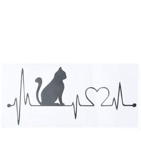 Etiqueta Engomada De La Etiqueta Engomada Del Gato Electrocardiograma Ventana Parachoques Decoración De La Pared Hogar