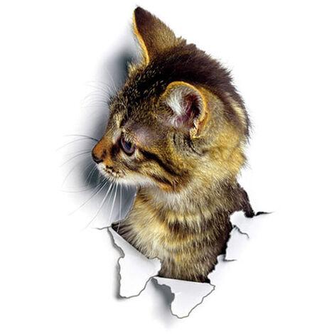 Etiqueta engomada de la pared del gato 3D vivido super lindo