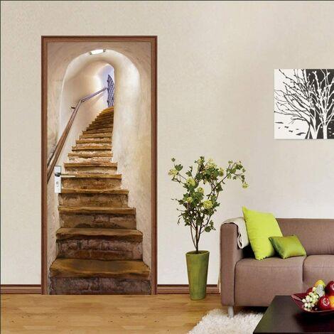 Etiquetas engomadas de la puerta, etiqueta engomada de la pared de la vendimia de la decoración interior del dormitorio 3D, cartel del baño del niño adulto de las escaleras 77 * 200Cm