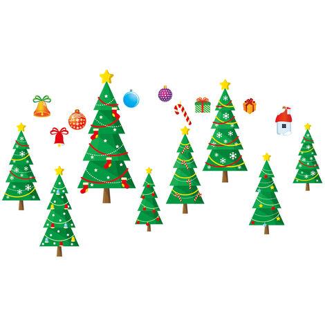 Etiquetas engomadas de la ventana de cristal de las decoraciones de la Navidad, papel pintado de DIY