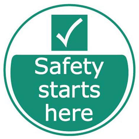 """Etiquette, avec pictogramme : Site sécurisé """" Safety Starts Here """""""