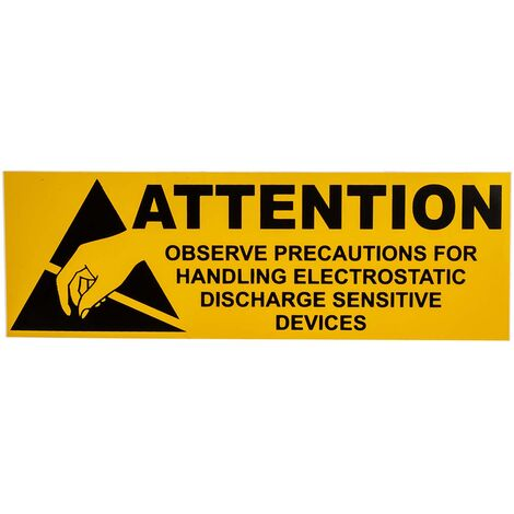 """Etiquette ESD Jaune, """"Attention"""", Dimensions 50 x 100mm"""