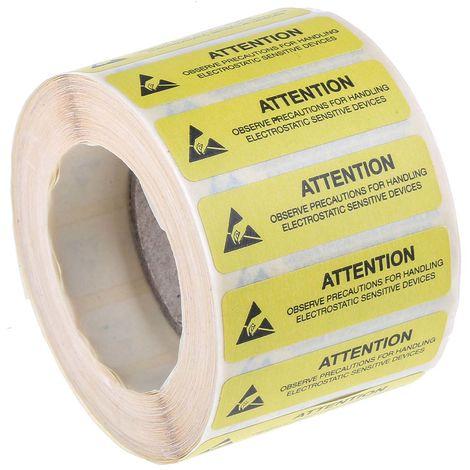 """Etiquette ESD Noir/Jaune, """"Attention Observe Precautions For Handling Electrostatic Discharge Sensitive Device"""""""