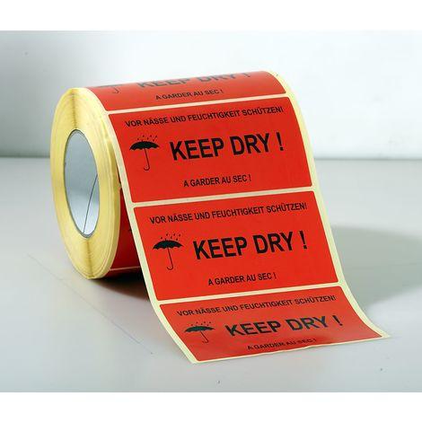 Etiquettes de signalisation - 1000 unités par rouleau, lot de 3 rouleaux - impression «A garder au sec!» - rouge