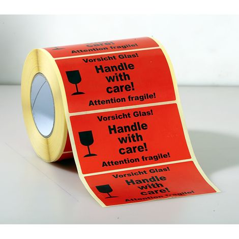 Etiquettes de signalisation - 1000 unités par rouleau, lot de 3 rouleaux - impression «Attention fragile!» - rouge