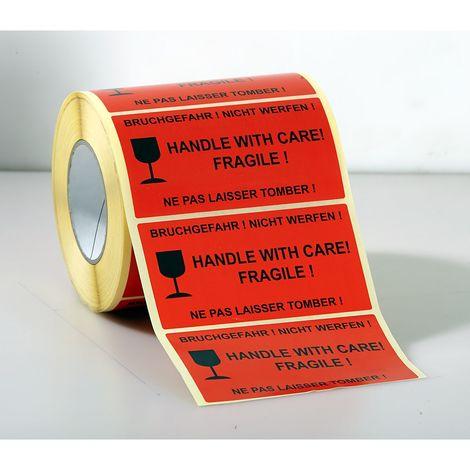 Etiquettes de signalisation - 1000 unités par rouleau, lot de 3 rouleaux - impression «Ne pas laisser tomber!» - rouge