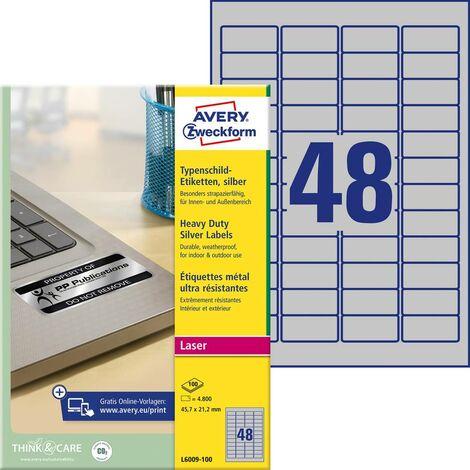 Etiquettes plaques signalétiques Avery-Zweckform L6009-100 45.7 x 21.2 mm film de polyester argent 4800 pc(s) permanente