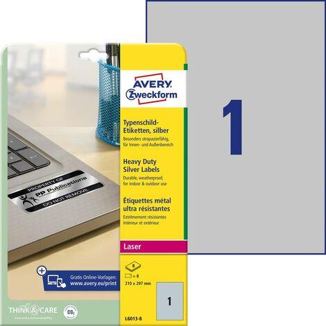 Etiquettes plaques signalétiques Avery-Zweckform L6013-8 210 x 297 mm film de polyester argent 8 pc(s) permanente