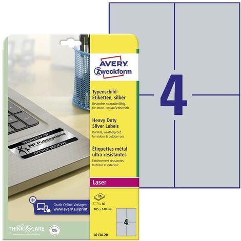Etiquettes plaques signalétiques Avery-Zweckform L6134-20 105 x 148 mm film de polyester argent 80 pc(s) permanente