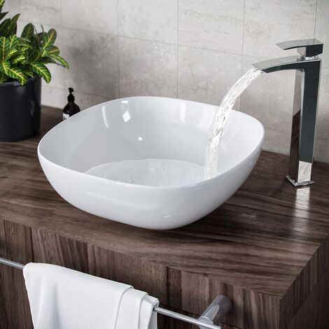 """main image of """"Etive 330 x 410mm Square Rounded Cloakroom Counter Top Basin Sink Bowl"""""""