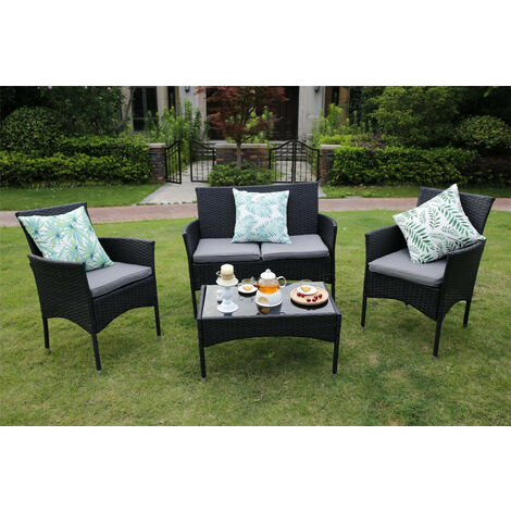 Eton 4-Piece Outdoor Rattan Garden Furniture Conservatory Black Sofa Set Table and Chairs