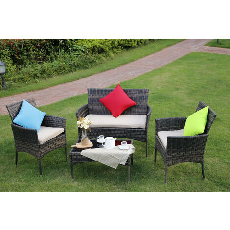 Eton 4-Piece Outdoor Rattan Garden Furniture Conservatory Brown Sofa Set Table and Chairs