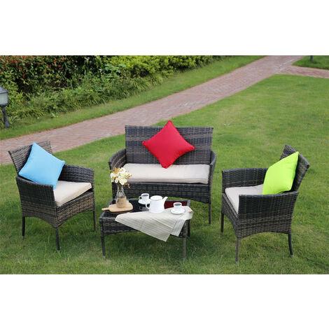 Eton 4-Piece Outdoor Rattan Garden Furniture Conservatory Sofa Brown Set With Rain Cover