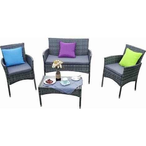 Eton 4-Piece Outdoor Rattan Garden Furniture Conservatory Sofa Grey Set With Rain Cover