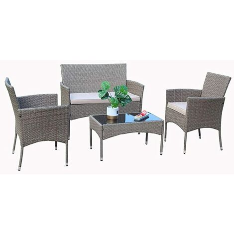 Eton 4-Piece Outdoor Rattan Garden Furniture Conservatory Sofa Set Table and Chairs with Fitting Cover