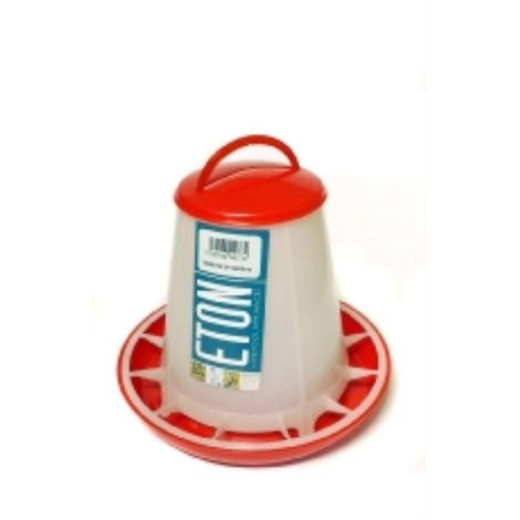 Eton Robust Plastic Feeder With Lid (1kg) (Red/Transparent)