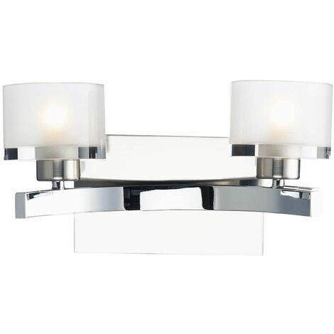 Eton wall light polished chrome and glass 2 bulbs