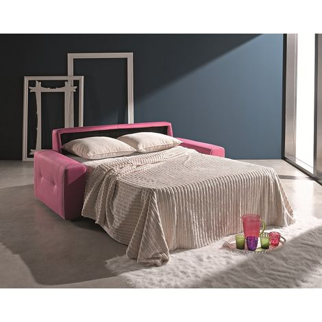 Ettore 3 Seater Italian Fabric Sofa Bed Pink