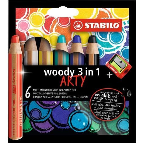 Etui carton x 6 crayons multi-talents STABILO woody 3in1 ARTY + 1 taille-crayon
